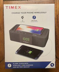 NEW Timex Alarm Clock with Wireless Charging Clock & USB Charging - TW400