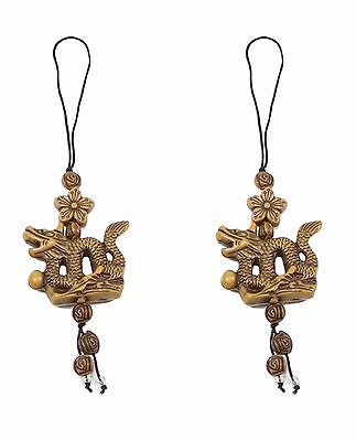 2 Brown Dragons with Star Flower Cell Phone Good Luck Charm Strap Accessory Gift ()