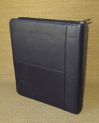 Monarch Franklin Covey Black Leather 1.25 Rings Zip Plannerbinder Full Size