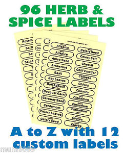 HERB AND SPICE LABEL 96 Clear Cannister Canister Jar Self Adhesive Labels Glass