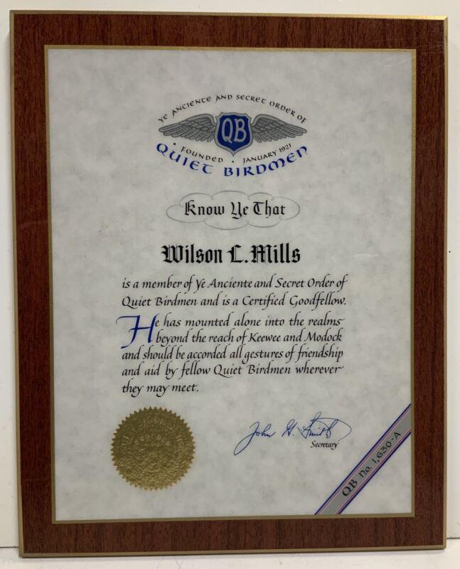 Ye Anciente And Secret Order Of Quiet Birdmen Certified Goodfellow Aviation