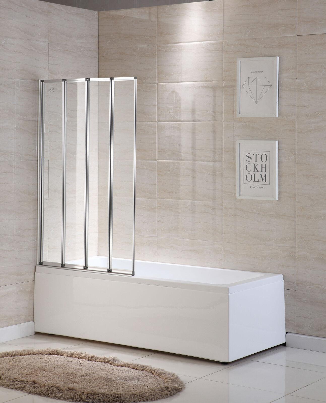 4 Folds Folding Bath Shower Screen Doors Panel Glass Chrome Frame
