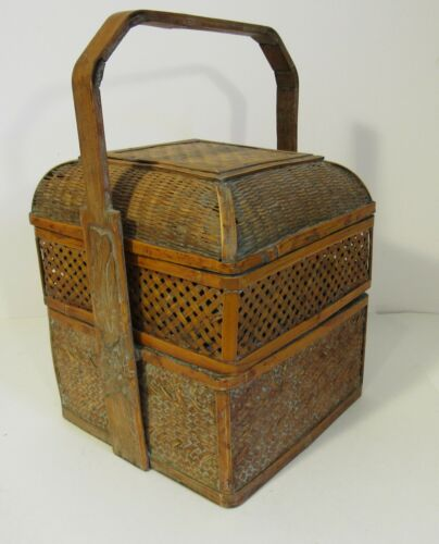Vintage Asian Lunch Box Woven Basket