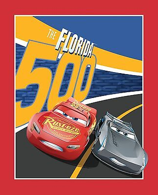 Disney Cars Cotton Fabric - Disney Cars Quilt top Panel Fabric Florida 500 Lightning McQueen 100% Cotton