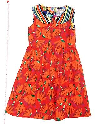 Childrens Designer Boutique (Designer Boutique Style Little Girls Red and Orange Daisy Print Dress)
