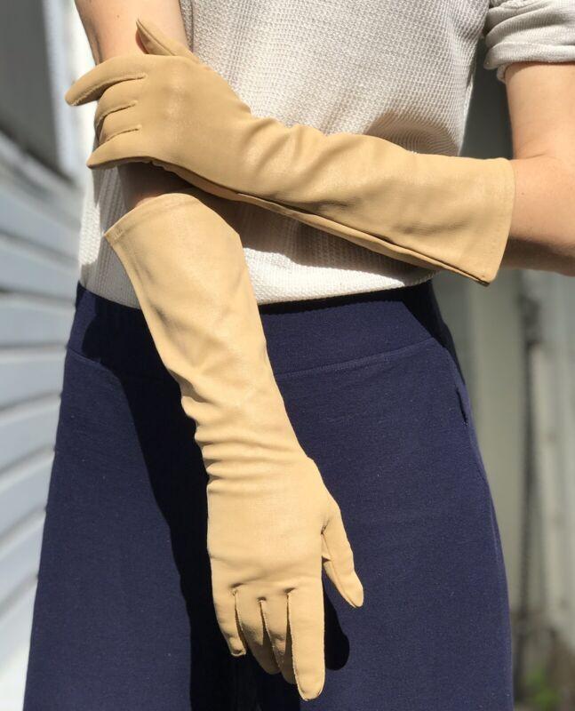 Vintage Miss Aris Long Gloves Size 7 Nylon Beige