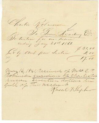1861 Greene Academy Tuition Receipt Signed Russell Shepherd   Pennsylvania
