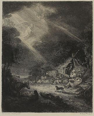 Originalradierung von William Unger nach Adriaen van Ostade  - Verkündigung