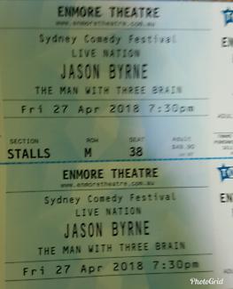 2 tickets to Jason Byrne Sydney