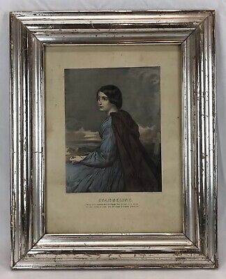Antique Mid 19th C Currier & Ives Lithograph EVANGELINE Silver Gilt Frame
