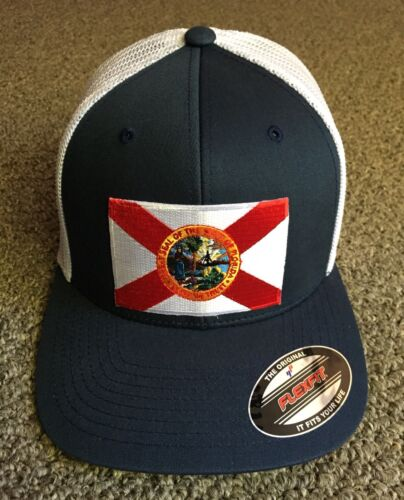 State of FLORIDA Flag Hat FLEXFIT Trucker Mesh Cap Made in t