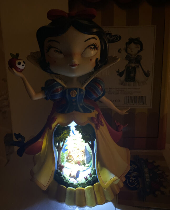 "Snow White Figurine Dwarves House Birds Disney World of Miss Mindy 9"" Lighted"