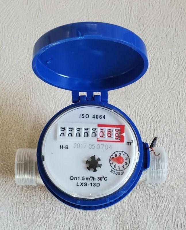 """15mm 1/2"""" Household Cold Water Flow Meter Water Meter C8H6 - No fittings"""