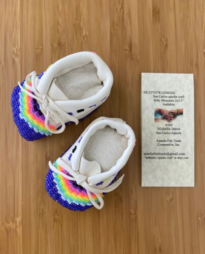 """authentic Apache made craft  baby buckskin moccasin 2x3.5"""" 242"""