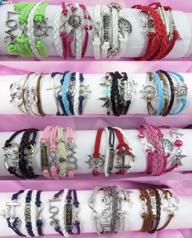 30pc wholesale infinity charm bracelet girl lady bracelets wristband bulk lot