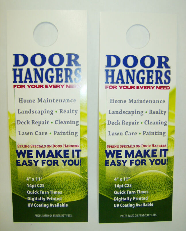 "Custom Printed Door Hangers 250 Full Color 4"" x 11"" Business Sales Promotion 4C"