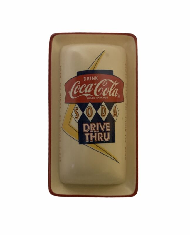 Coca Cola Drive Thru Ceramic Butter Dish Cool Vintage Look To It