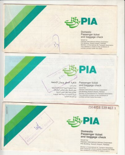 PAKISTAN PIA AIRLINES PASSENGER TICKET AND BAGGAGE CHECK LOT OF 3 DIFFERENT