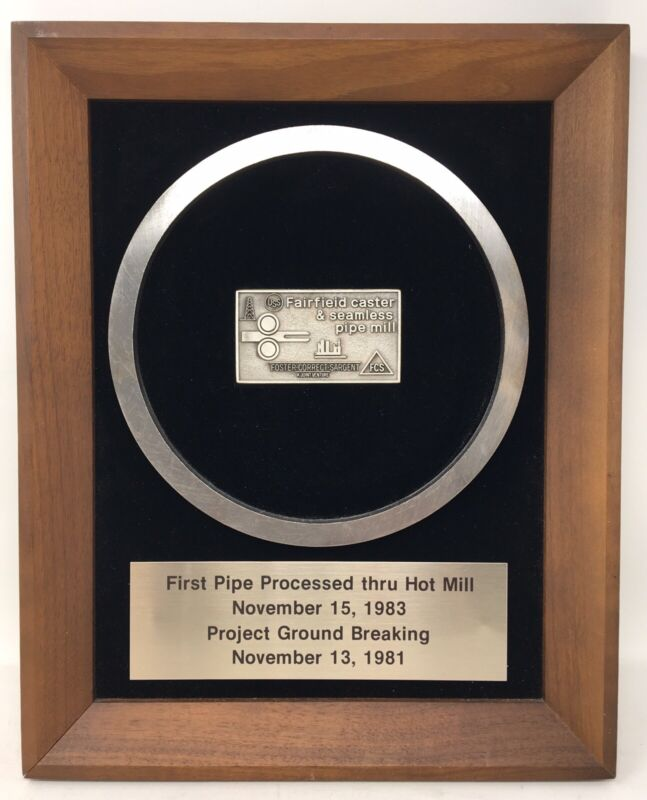Fairfield Caster & Seamless Pipe Commemorative Plaque (Unite States Steel)