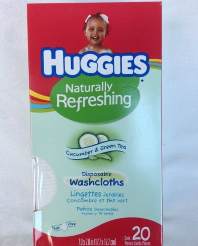 HUGGIES CUCUMBER & GREEN TEA DISPOSABLE BABY WASHCLOTHS, 20 CT. NEW,SEALED