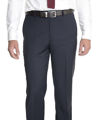 Alfani RED Slim Fit Blue Striped Wool Blend Flat Front Dress Pants