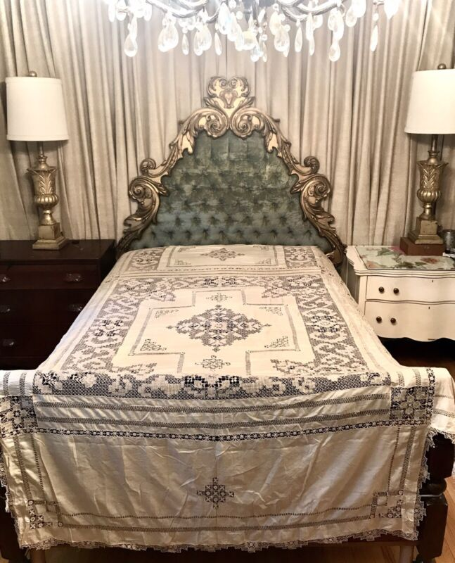 EXQUISITE Antique silk and handmade lace bedspread coverlet full sized Ex Cond