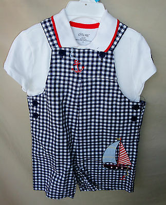 LITTLE ME 100% Cotton 2 pc Blue Check Gingham Shortall Set INFANT BOY SIZES NWT