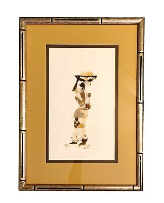 Framed Matted Mosaic Picture of African Woman Made from Butterfly Wings