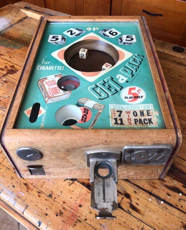 Antique 1935 Coin Op 5 Cent Dice Game Trade Stimulator, Art Deco, Cigarette