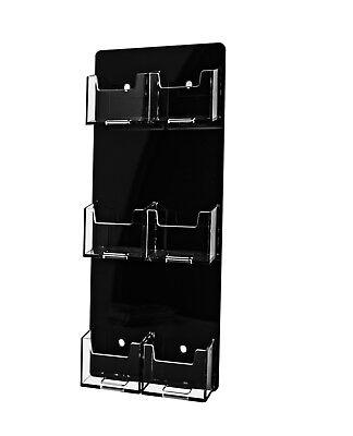 6 Pocket Vertical Business Card Holder Wall Acrylic Black Back & Clear Pocket