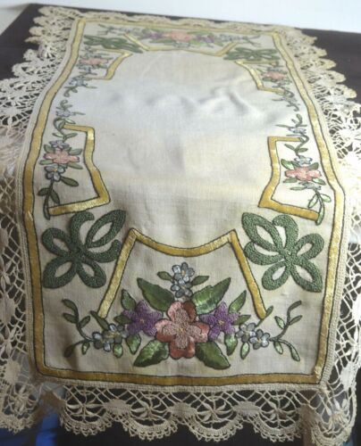 ANTIQUE ARTS & CRAFTS EMBROIDERED RUNNER LINEN UU501
