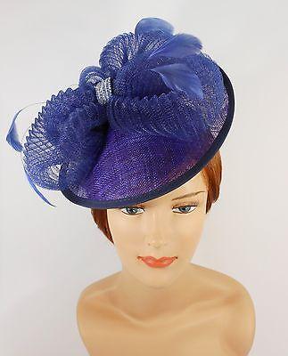 New Church Derby Wedding Fascinator Dress Hat with Headband TS006022 Navy