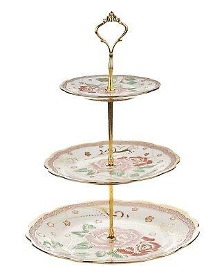 3 TIER VINTAGE FLORAL CERAMIC CAKE STAND CUPCAKE WEDDING PLATE TEA A3