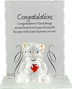 NEW ENGRAVED GLASS CRYSTAL BEAR GIFT SET POEM POETIC WRITING MESSAGE MUM DAD