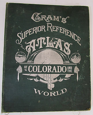 1909 Atlas Cram's Superior Reference of COLORADO & The WORLD Presidents