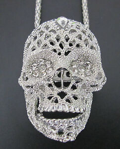 Large 3D Filigree Silver Style Candy Sugar Skull Diamante Necklace on Long Chain