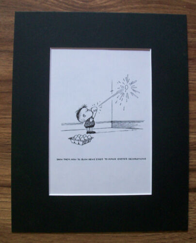 Child Cartoon Print Norman Thelwell Blow Egg Easter Decorate Bookplate 1977 wMat
