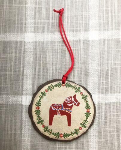 Dala Horse Folk art Wreath Christmas Ornament