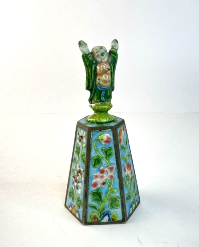 Antique Chinese Export Enamel Bell Immortal Daoist Asian Copper 6 Floral Panels