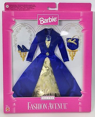 BARBIE FASHION AVENUE ROYAL BLUE SATIN COAT GOLD DRESS ACCESSORIES NRFB