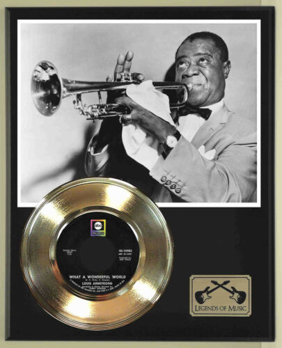 """Louis Armstrong """"What A Wonderful World"""" Record Display Wood Plaque"""