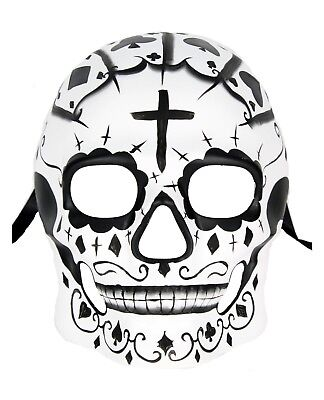 Day of the Dead Sugar Skull Masquerade Mask Costume Mens Wall Decor Cross White