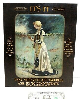 Antique 1911 vtg Victorian Tin SIGN Optical EYEGLASSES Spectacle Philadelphia PA