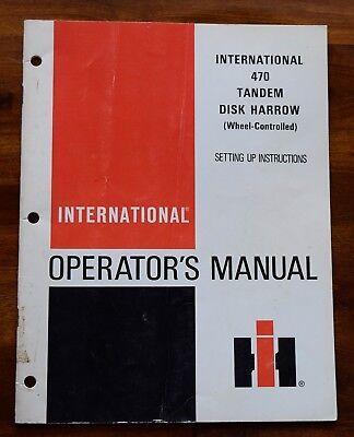International 470 Tandem Disk Harrow Wheel Controlled Operators Manual Set Up