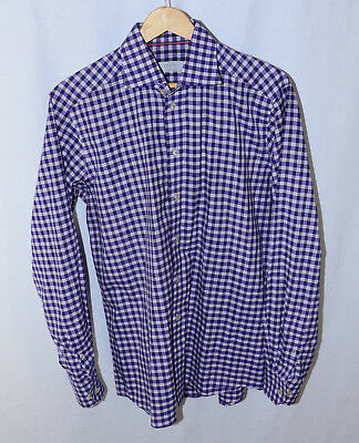 ETON RECENT purple gingham check Contemporary button-front shirt 15.5 - Purple Gingham