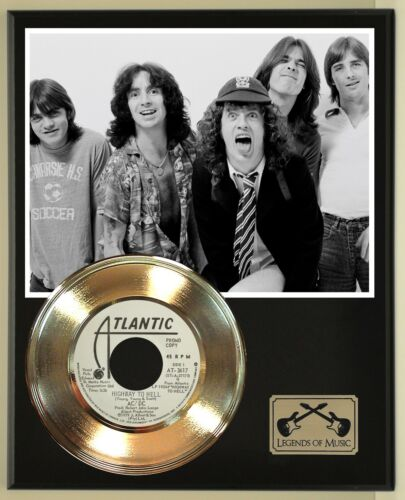 AC/DC 45 Gold Plated Record Display Open Air Wood Plaque, Ready To Hang. 01