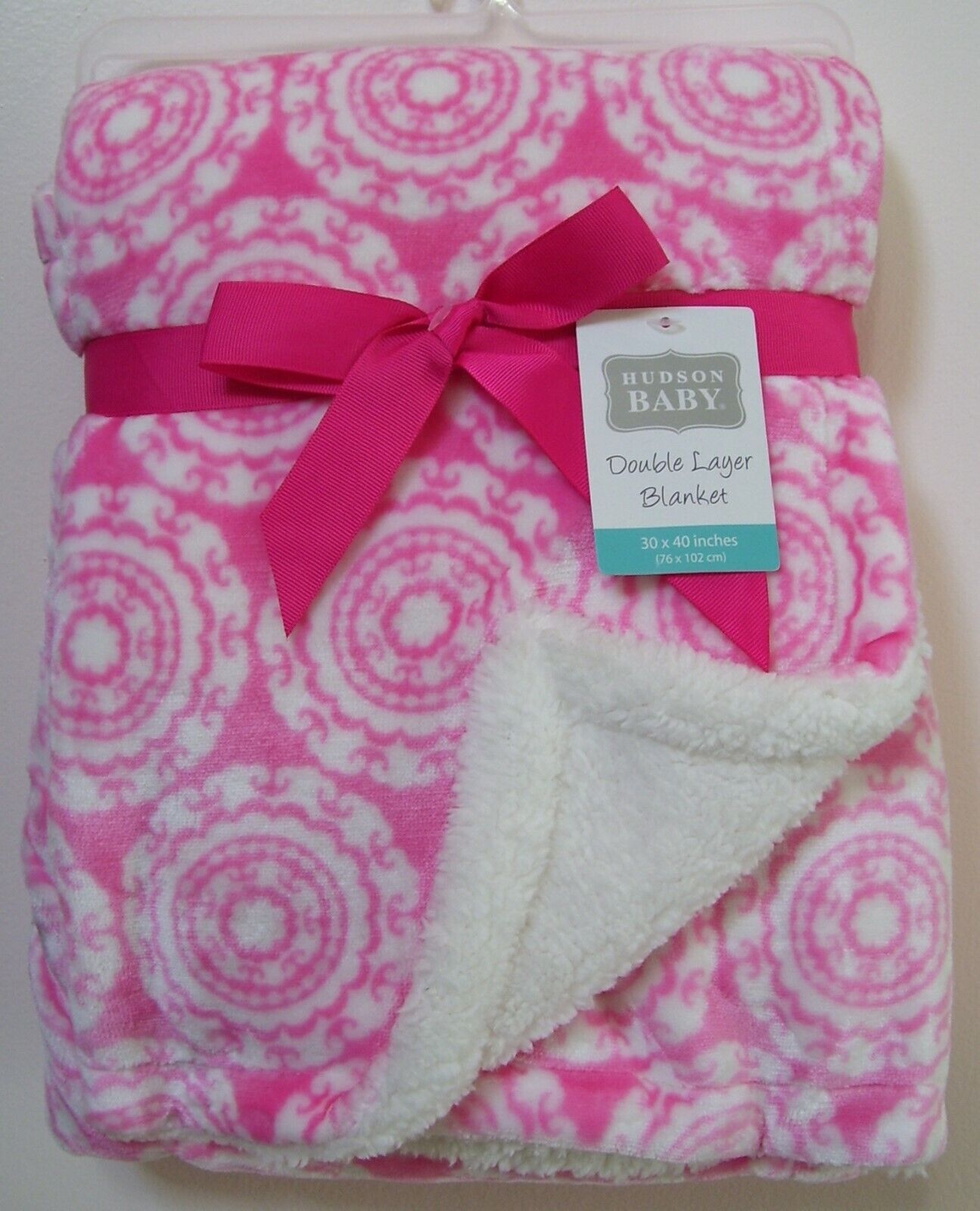 Hudson Baby Sherpa Backed Blanket - Medallion