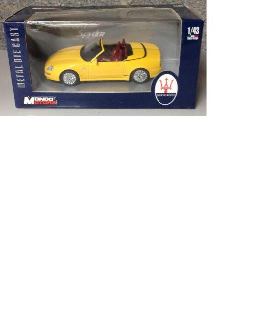 Maserati Gran Sport Spyder Model Car 1:43 Scale In Yellow Mondo Motors Rare!!