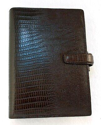 Filofax Topaz Leather Personal Organizer Fine Lizard Print Initalian Leather