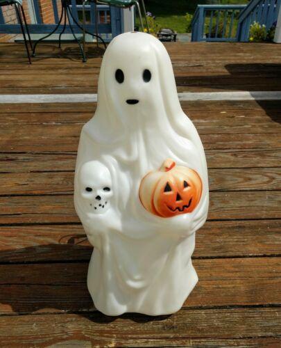 Halloween Ghost Blow Mold Lighted Skull & Pumpkin Yard Decor Outside Empire